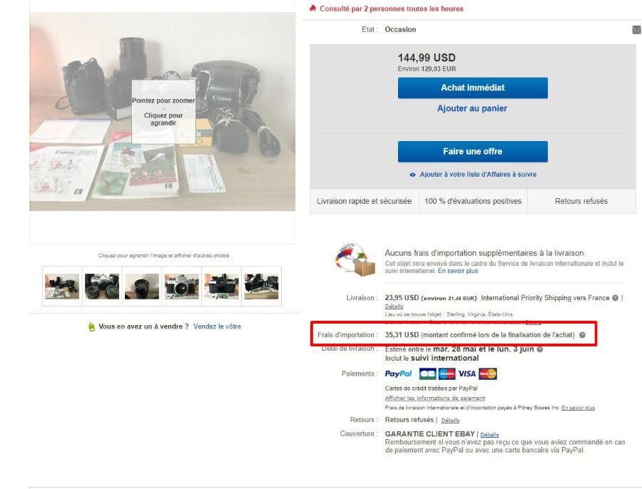 frais d'importation sur ebay. Acheter et vendre un appareil photo argentique.